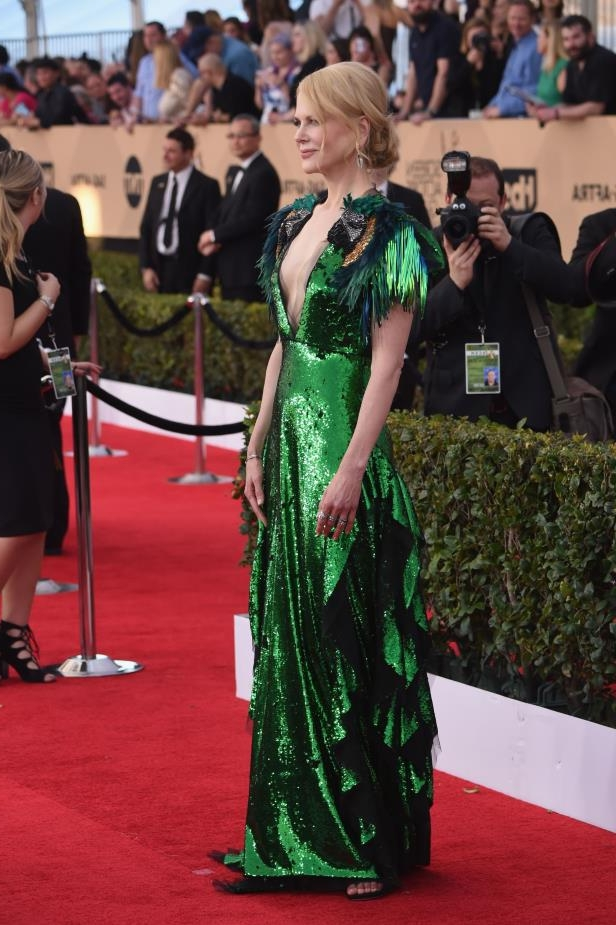 Nicole Kidman stuns in dress with parrots on the shoulders at the 2017 SAG Awards