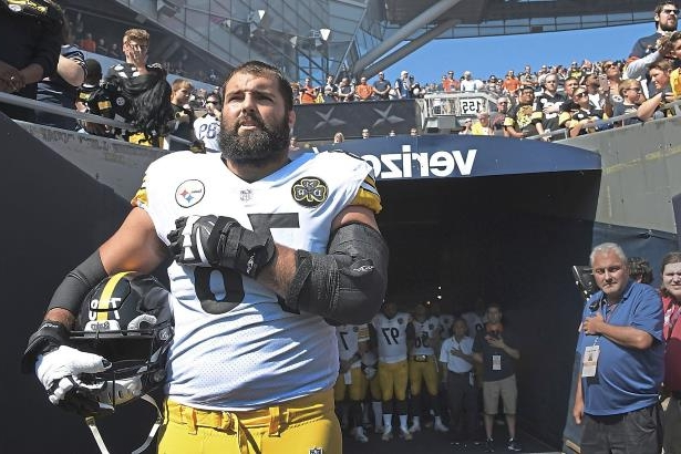 269c3f7ae Alejandro Villanueva stands near the tunnel at Soldier Field during the  playing of the national anthem