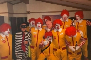 Gang of Ronald McDonald clowns storm burger king and taunt members of staff