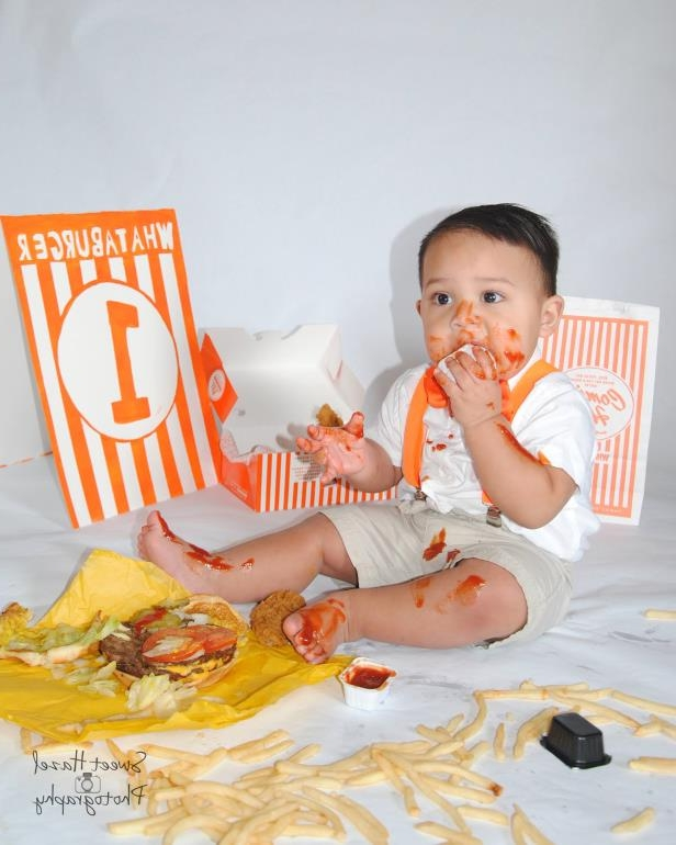 Miguel Macias, who turns 1 in November, doesn't need a smash cake. He had a nice Whataburger meal instead in his photo shoot by Sweet Hazel Photography.