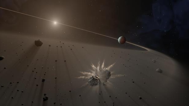 This artist's rendering shows a giant exoplanet causing small bodies to collide in a disk of dust.