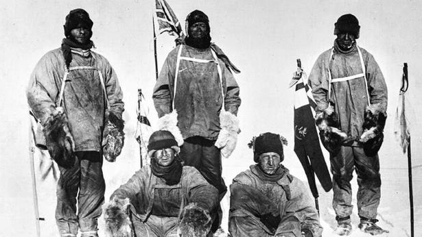 The 'selfie' taken by explorer Captain Scott's team after they arrived at the South Pole