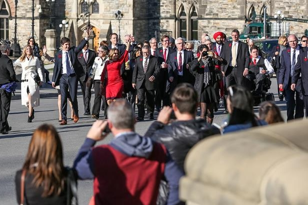 Prime Minister Justin Trudeau and his cabinet arrive at Parliament Hill for their first Cabinet meeting after being sworn-in earlier in the day. November 4, 2015. (Prime Minister's Office): Prime Minister Justin Trudeau and his cabinet arrive at Parliament Hill for their first Cabinet meeting after being sworn-in earlier in the day on November 4, 2015. (Prime Minister's Office)