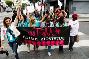 Sparked by #MeToo campaign, sexual assault survivors rally and march in Hollywood