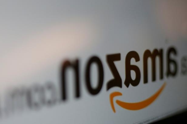 a close up of a logo: FILE PHOTO: Amazon logo is pictured in Mexico City
