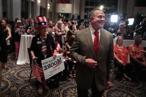 Image: Alabama GOP Senate Candidate Roy Moore Holds Election Night Gathering In Special Election For Session's SeatRepublican candidate for the U.S. Senate in Alabama, Roy Moore, greets guests after arriving at an election-night rally on September 26, 2017 in Montgomery, Alabama.
