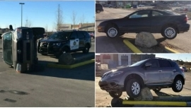 At least three vehicles have hit the rock since Friday, according to Sage Hill residents who documented the collisions. (Clockwise from top left: Davids Vetrovs, Mark Nguyen, Sage Hill Bottle Depot)