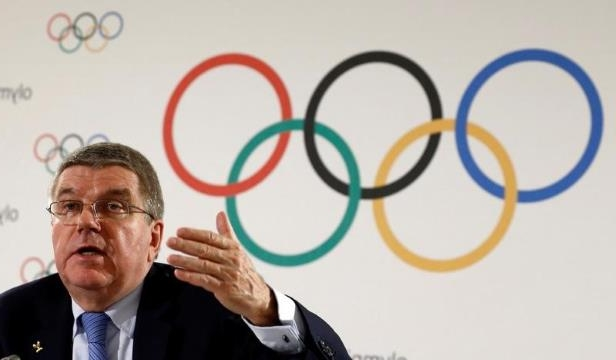 FILE PHOTO - IOC President Bach attends a news conference after an Executive Board meeting in Lausanne