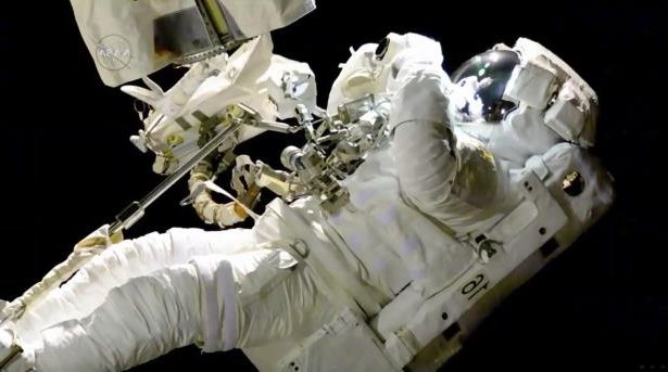 Slide 52 of 87: In this image from video made available by NASA, astronaut Joe Acaba performs a spacewalk outside the International Space Station on Friday, Oct. 20, 2017. Acaba was barely outside an hour when he had to replace one of his safety tethers. Spacewalking astronauts always have more than one of these crucial lifelines in case one breaks. They also wear a jetpack in case all tethers fail and they need to fly back to the space station.
