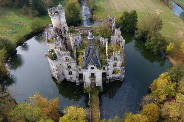 An aerial view of the Mothe-Chandeniers chateau in Les Trois-Moutiers, France.