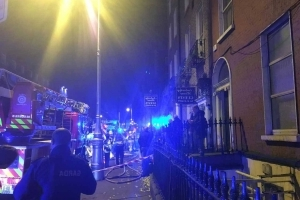 Five units of Dublin Fire Brigade battle city centre blaze