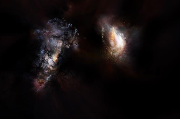 a star filled sky: <br />Artist's impression of a pair of massive galaxies from the very early universe.&nbsp;<br />