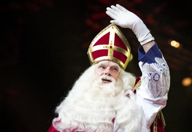 Saint Nicholas is identified as the original Santa Claus. This man is dressed up as him on a Dutch television program