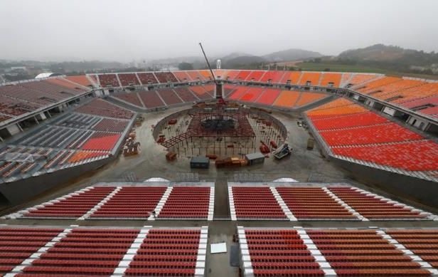 a large stadium: FILE PHOTO: The Olympic Stadium, the venue for the opening and closing ceremony of the PyeongChang 2018 Winter Olympic Games, is seen in Pyeongchang