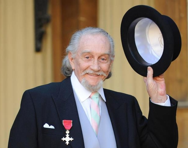 Slide 33 of 181: Actor Roy Dotrice after collecting his OBE from Queen Elizabeth II at Buckingham Palace in central London.