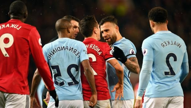 manchester derbycropped: Nicolas Otamendi and Ander Herrera argue during the Manchester derby