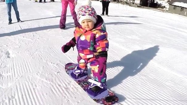 Snow Way! Toddler Learns to Snowboard Ahead of Her First Birthday