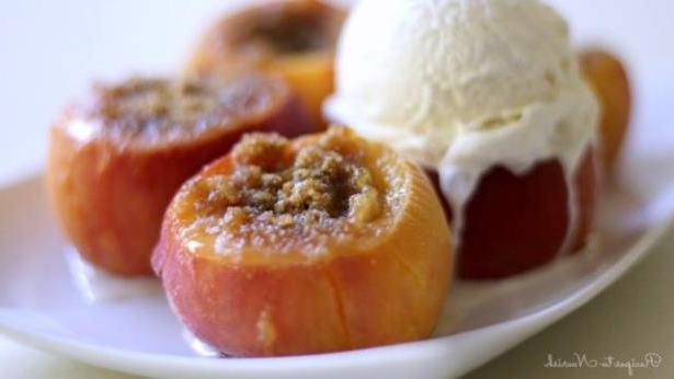 a close up of food: Instant Pot stuffed peaches will be your new favorite dessert.