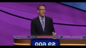a screen shot of a man: 'Jeopardy' Contestant Loses $3,200 After Mispronouncing 'Gangsta's Paradise'