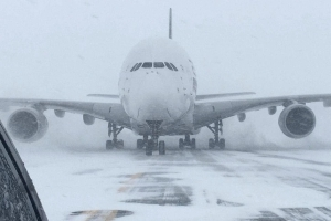 World's biggest passenger jet forced to land at small New York airport thanks to blizzard