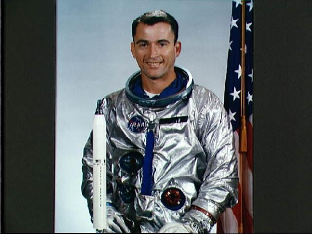 a close up of person: Astronaut John Young in 1964.