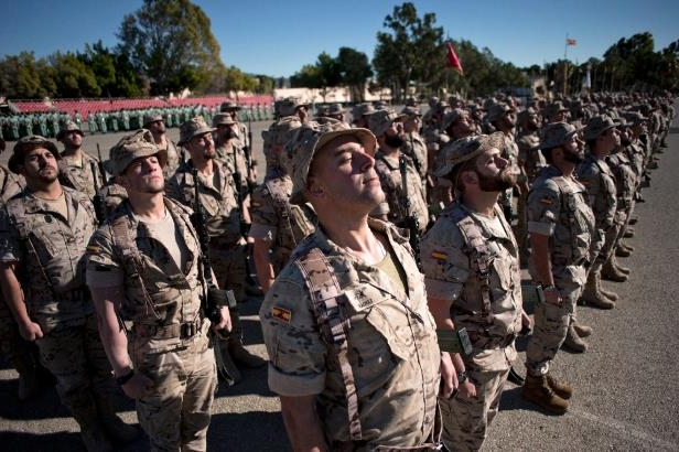 The Spanish Legion - some of whose members are pictured here at a base in Spain in January, 2015 - said six percent of its troops were measured as obese