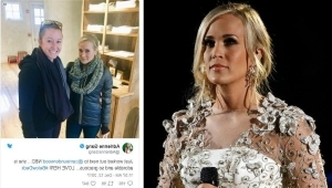a woman in a dress: Carrie Underwood needed 40 stitches to her face after fall