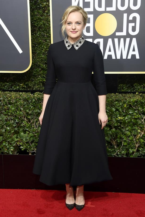 Slide 26 of 109: BEVERLY HILLS, CA - JANUARY 07: Elizabeth Moss attends The 75th Annual Golden Globe Awards at The Beverly Hilton Hotel on January 7, 2018 in Beverly Hills, California. (Photo by Frazer Harrison/Getty Images)