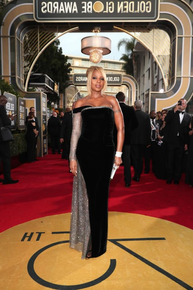 Slide 53 of 109: BEVERLY HILLS, CA - JANUARY 07: 75th ANNUAL GOLDEN GLOBE AWARDS -- Pictured: Singer/actress Mary J. Blige arrives to the 75th Annual Golden Globe Awards held at the Beverly Hilton Hotel on January 7, 2018. (Photo by Christopher Polk/NBC/NBCU Photo Bank via Getty Images)