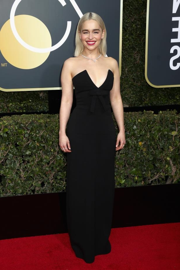 Slide 8 of 109: BEVERLY HILLS, CA - JANUARY 07: Actor Emilia Clarke attends The 75th Annual Golden Globe Awards at The Beverly Hilton Hotel on January 7, 2018 in Beverly Hills, California. (Photo by Frederick M. Brown/Getty Images)