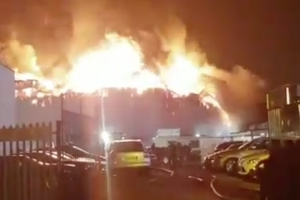 Massive fire breaks out at factory in London with blaze visible 'for miles around'