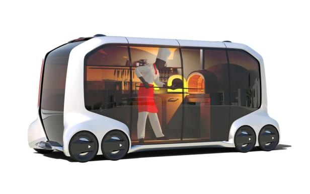 Slide 1 of 6: Toyota e-Palette Concept food-truck