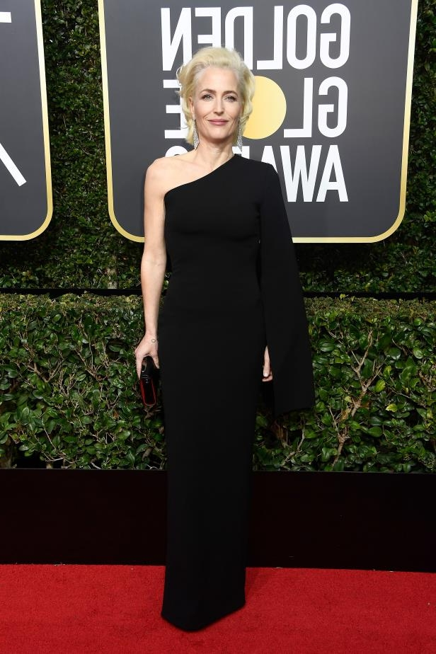 Slide 22 of 81: Gillian Anderson wore a classic, one-shoulder gown.