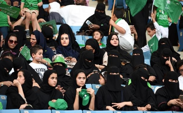 A file picture taken on September 23, 2017 shows Saudi women at a stadium for an event commemorating the anniversary of the founding of the kingdom