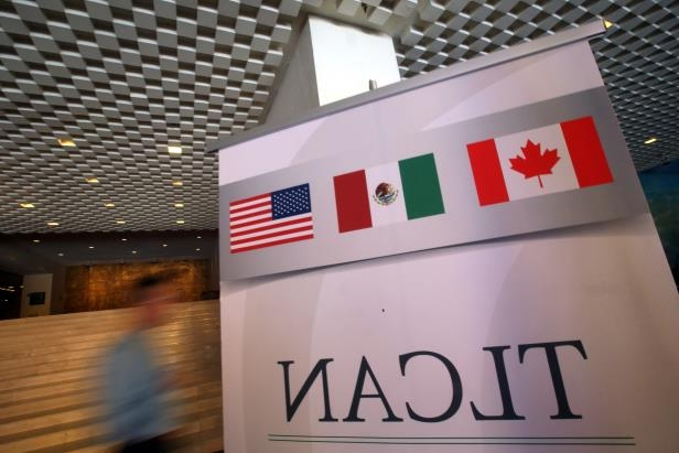 A NAFTA banner is seen during the fifth round of NAFTA talks involving the United States, Mexico and Canada, in Mexico City, Mexico, November 18, 2017.