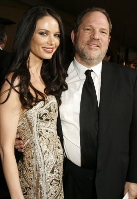 Harvey Weinstein and woman posing for a picture: Harvey Weinstein (left) and Georgina Chapman