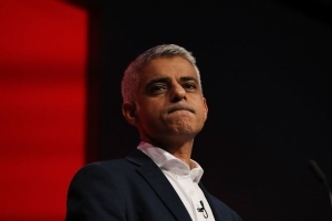 A speech by Sadiq Khan was disrupted by protesters calling for his arrest