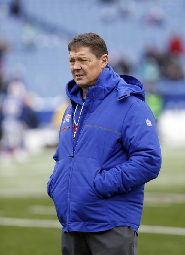 Buffalo Bills offensive coordinator Rick Dennison on the field before a game against the Miami Dolphins at New Era Field on Dec. 17.