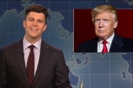 Donald Trump in a suit and tie: snl saturday night live weekend update shithole donald trump colin jost