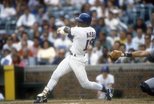 Sammy Sosa of the Cubs bats during a 1993 game at Wrigley Field.