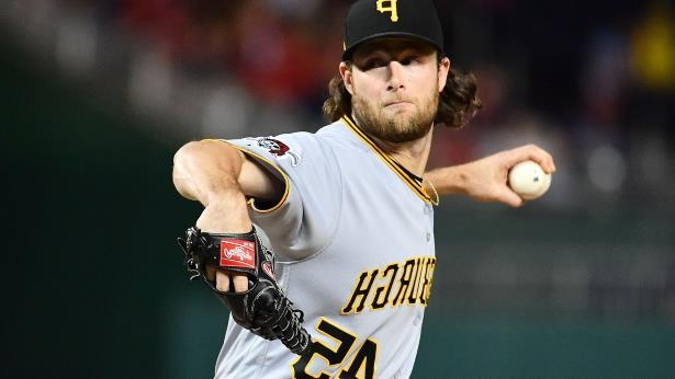 Sep 29, 2017; Washington, DC, USA; Pittsburgh Pirates starting pitcher Gerrit Cole (45) throws to the Washington Nationals during the first inning at Nationals Park.