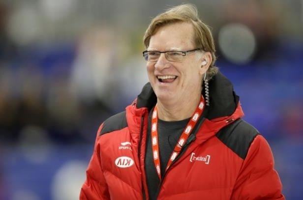 person wearing glasses and smiling at the camera: Michael Crowe, head coach of Canada's long track speed skating team, has taken a leave of absence with less than a month to go before the start of the Olympics in Pyeongchang, South Korea.