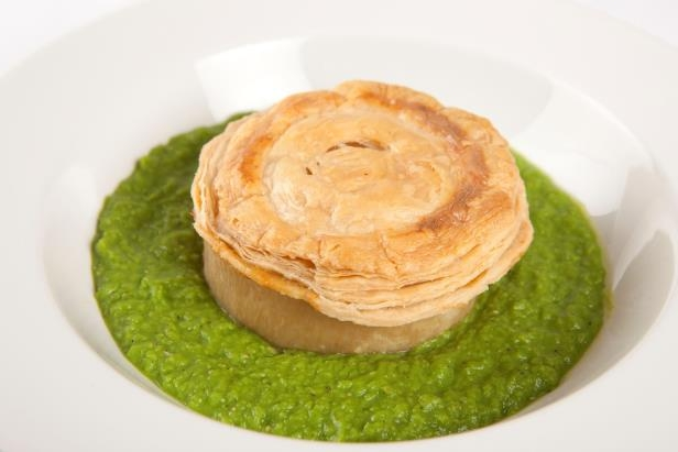 Slide 16 of 48: 'A freshly cooked meat pie on peas, a floater.'