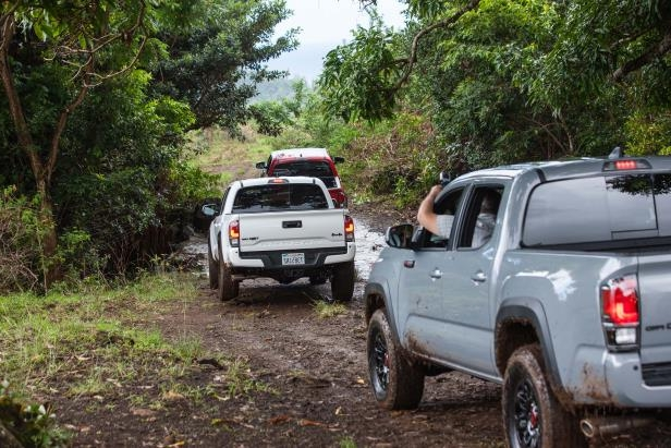 Slide 41 of 87: 2017-Toyota-Tacoma-4x4-TRD-Pro-rear-three-quarter-in-mud.jpg