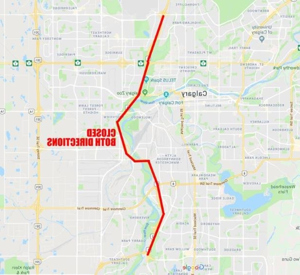 a close up of a map: A map showing the section of Deerfoot Trail closed due to bad weather and multi-vehicle crashes.