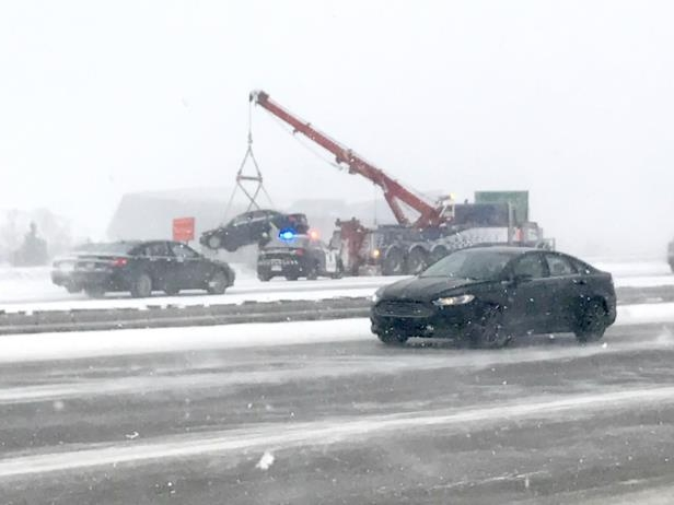 a person driving a car: Several multi-vehicle crashes forced the closure of Deerfoot Trail on Saturday.