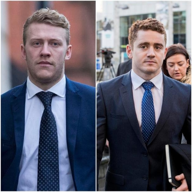 L Ireland and Ulster rugby player Paddy Jackson R Ireland and Ulster rugby player Stuart Olding.