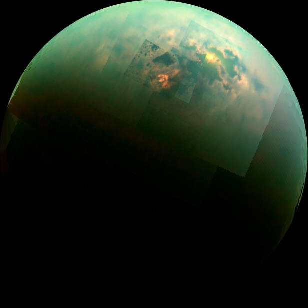 Sunlight glints off of Titan's northern seas in this near-infrared, color mosaic from NASA's Cassini spacecraft.