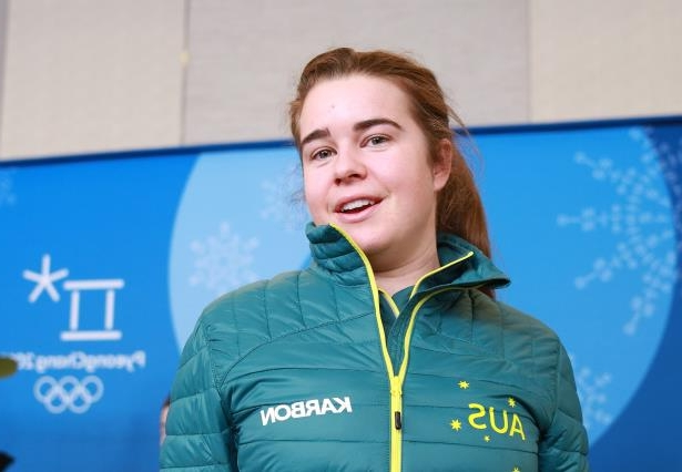 Australian Mogul skier Britt Cox at an Australian team press conference ahead of the PyeongChang 2018 Winter Olympic Games