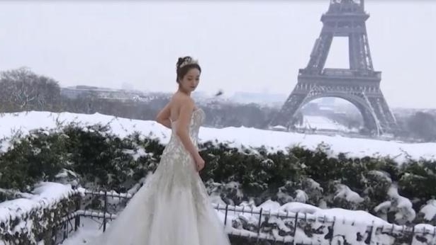 Here Comes the Brrride! Newlyweds Pose for Photos in Front of Snowy Eiffel Tower
